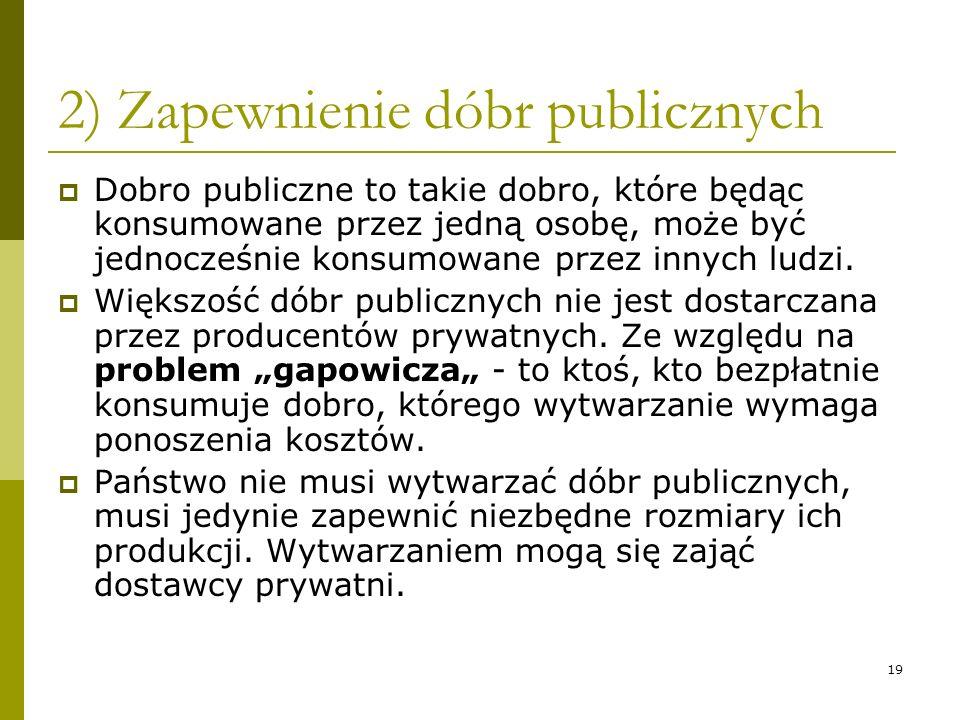 2) Zapewnienie dóbr publicznych