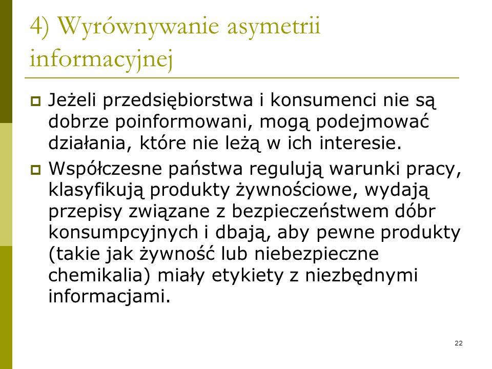 4) Wyrównywanie asymetrii informacyjnej