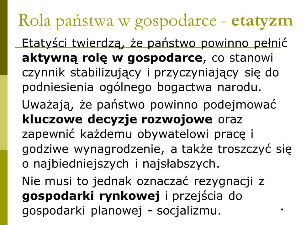 Rola państwa w gospodarce - etatyzm