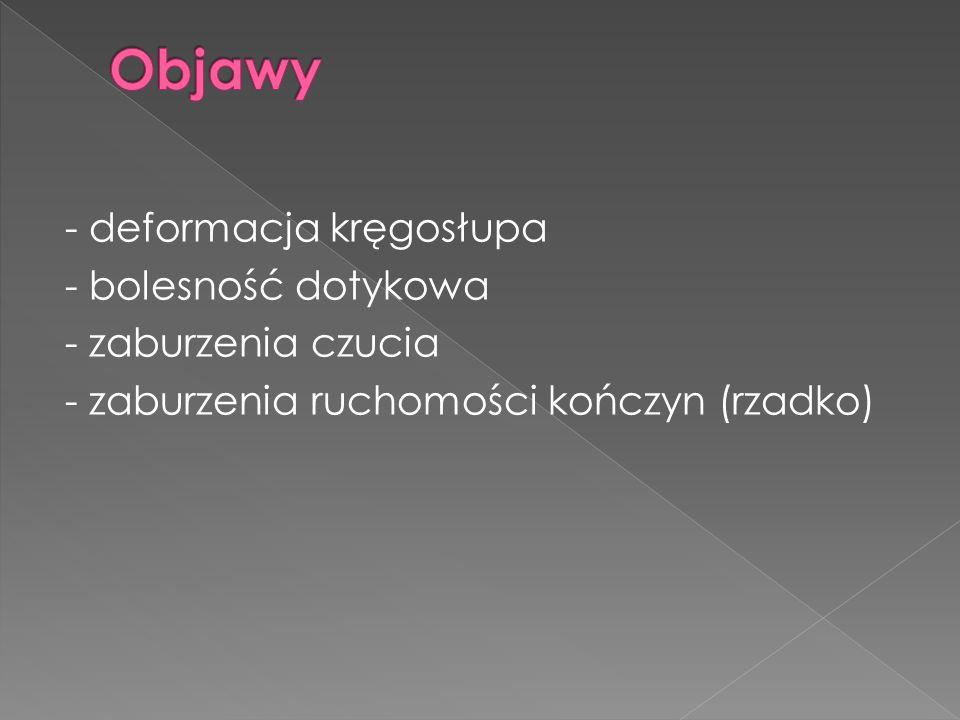 Objawy- deformacja kręgosłupa - bolesność dotykowa - zaburzenia czucia - zaburzenia ruchomości kończyn (rzadko)