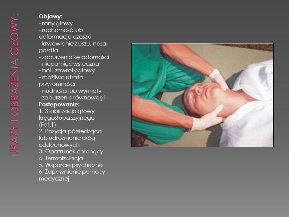 Urazy i obrażenia głowy: