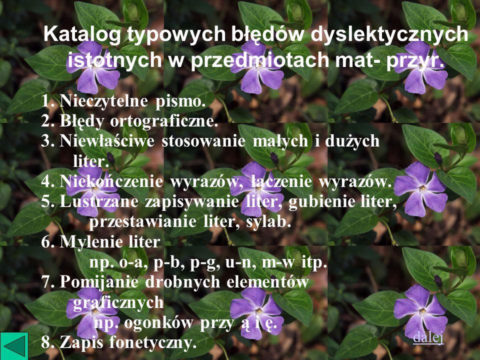 Katalog typowych błędów dyslektycznych istotnych w przedmiotach mat- przyr.