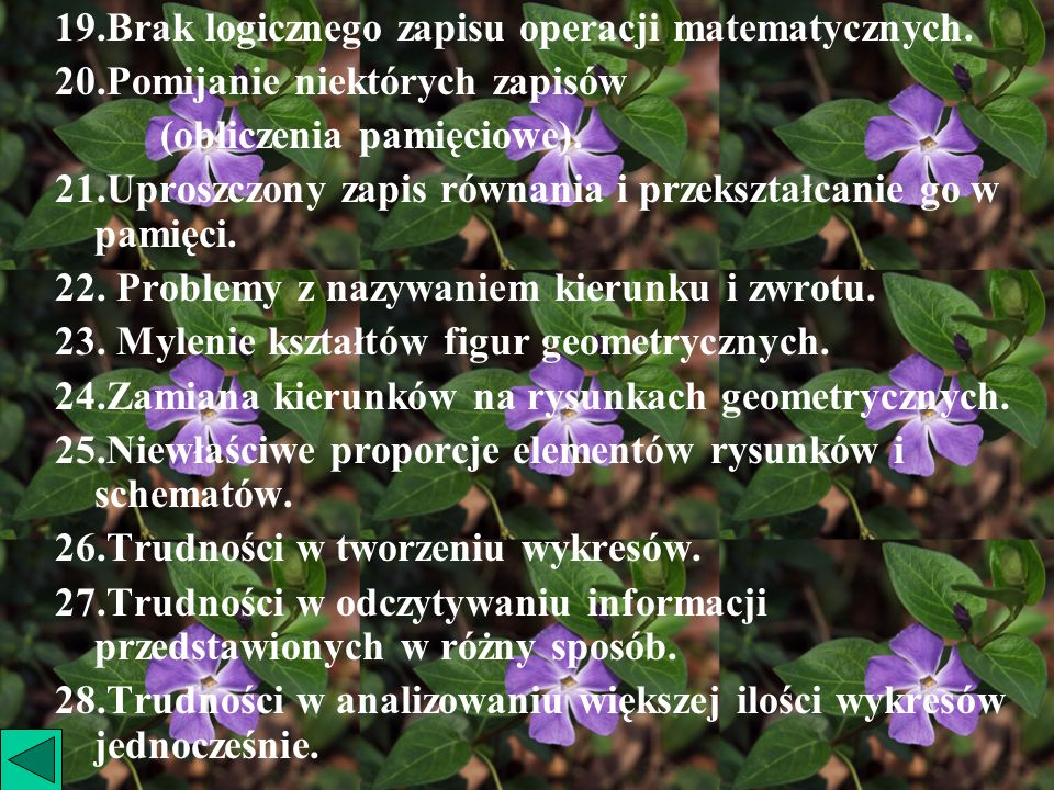 19.Brak logicznego zapisu operacji matematycznych.