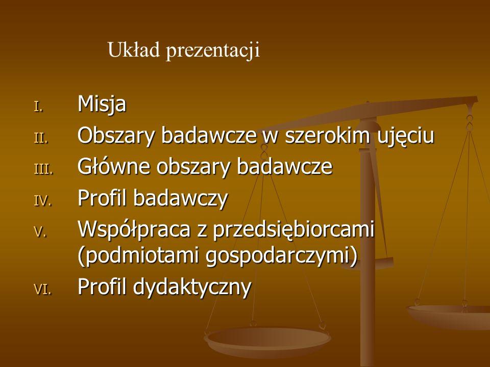 Układ prezentacji Misja. Obszary badawcze w szerokim ujęciu. Główne obszary badawcze. Profil badawczy.