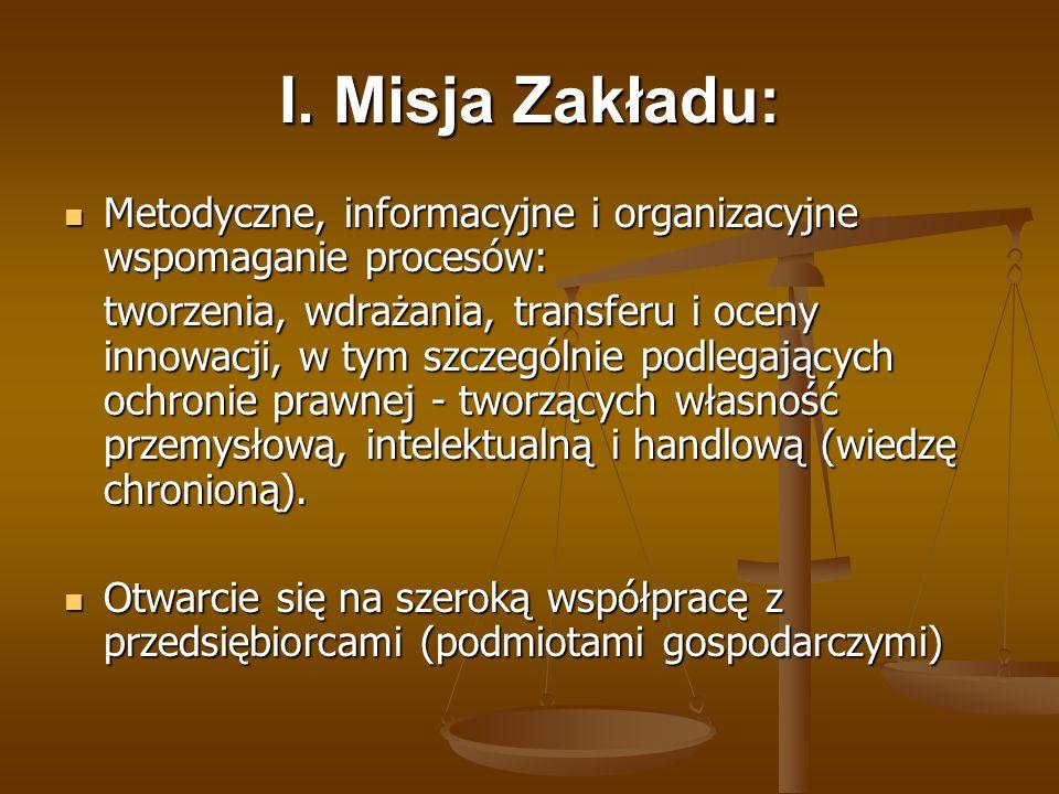 I. Misja Zakładu: Metodyczne, informacyjne i organizacyjne wspomaganie procesów: