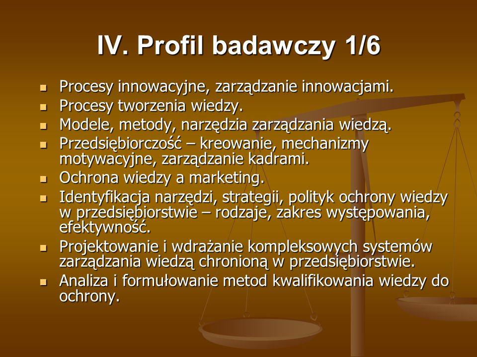 IV. Profil badawczy 1/6 Procesy innowacyjne, zarządzanie innowacjami.