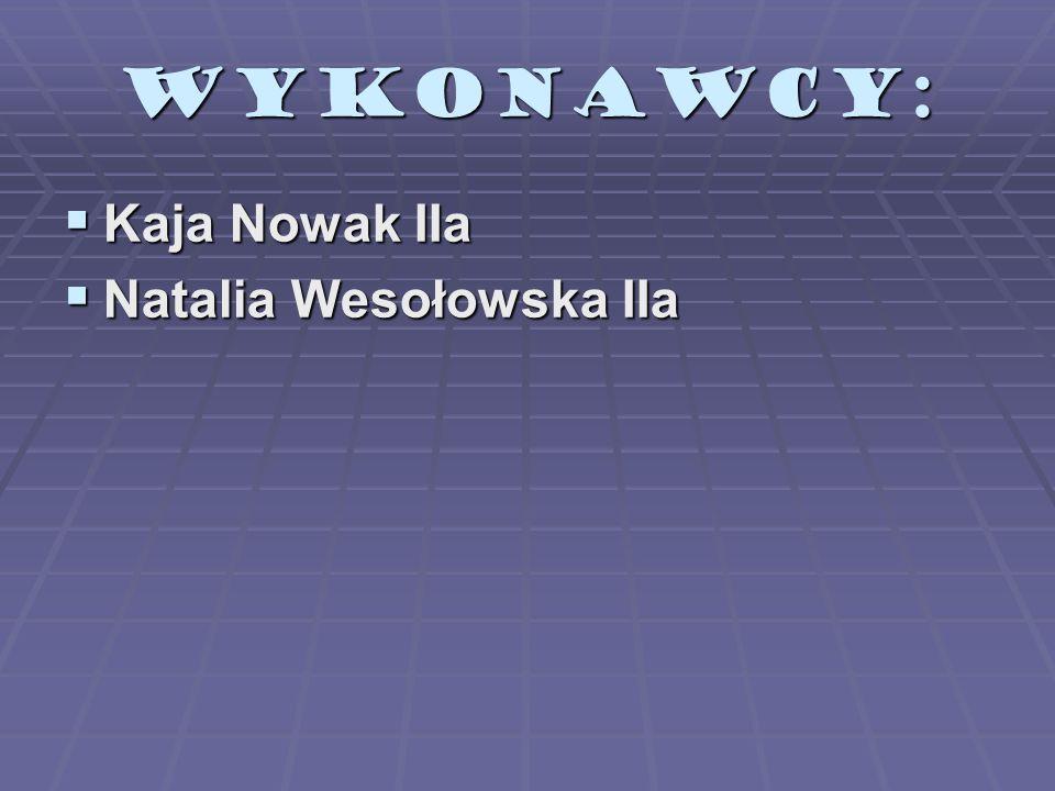 WYKONAWCY: Kaja Nowak IIa Natalia Wesołowska IIa