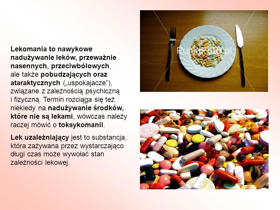 """Lekomania to nawykowe nadużywanie leków, przeważnie nasennych, przeciwbólowych, ale także pobudzających oraz ataraktycznych (""""uspokajacze ), związane z zależnością psychiczną i fizyczną. Termin rozciąga się też niekiedy na nadużywanie środków, które nie są lekami, wówczas należy raczej mówić o toksykomanii."""