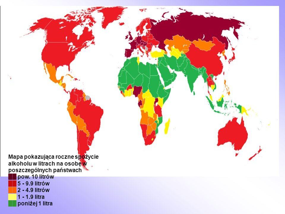 Mapa pokazująca roczne spożycie alkoholu w litrach na osobę w poszczególnych państwach