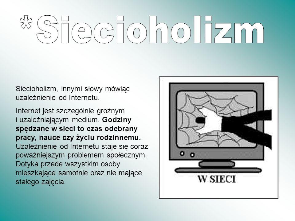 *SiecioholizmSiecioholizm, innymi słowy mówiąc uzależnienie od Internetu.