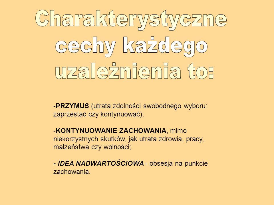 Charakterystyczne cechy każdego uzależnienia to: