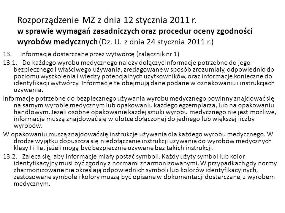 Rozporządzenie MZ z dnia 12 stycznia 2011 r