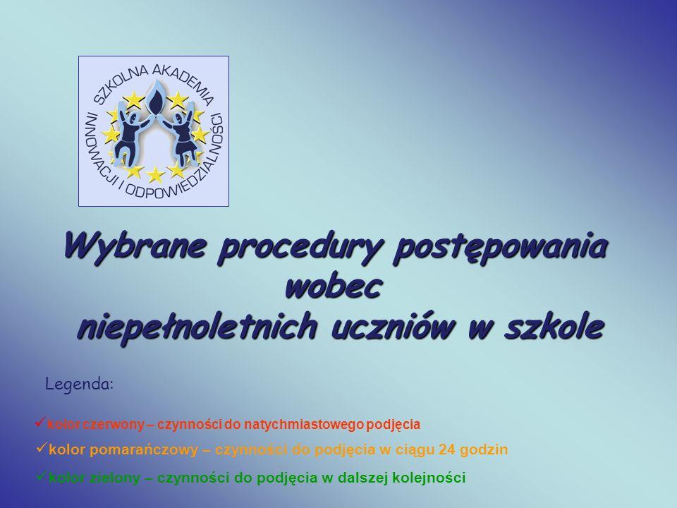 Wybrane procedury postępowania niepełnoletnich uczniów w szkole
