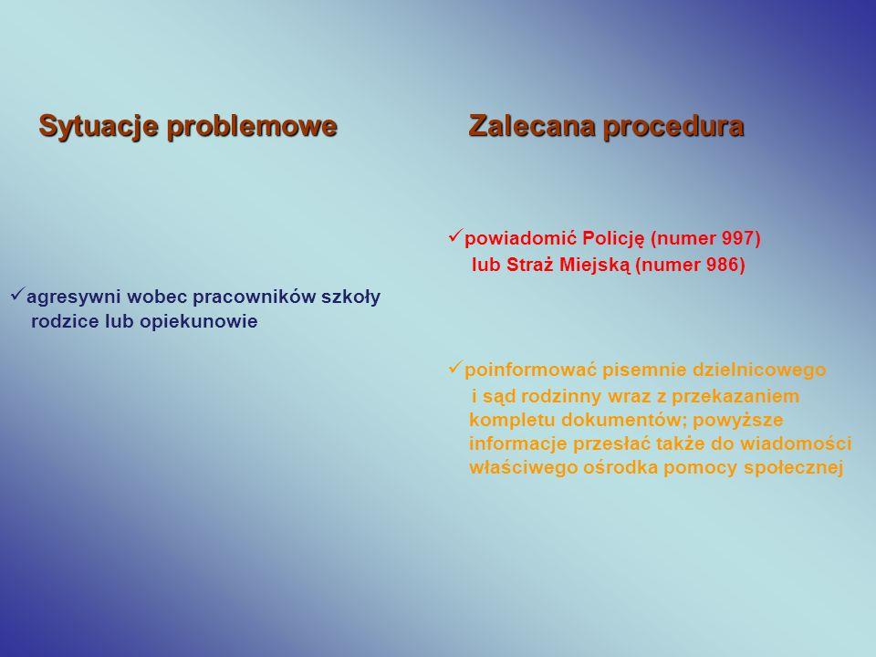 Sytuacje problemowe Zalecana procedura powiadomić Policję (numer 997)