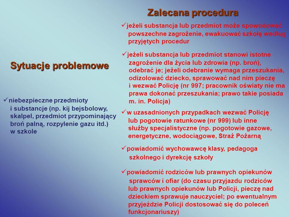 Zalecana procedura Sytuacje problemowe