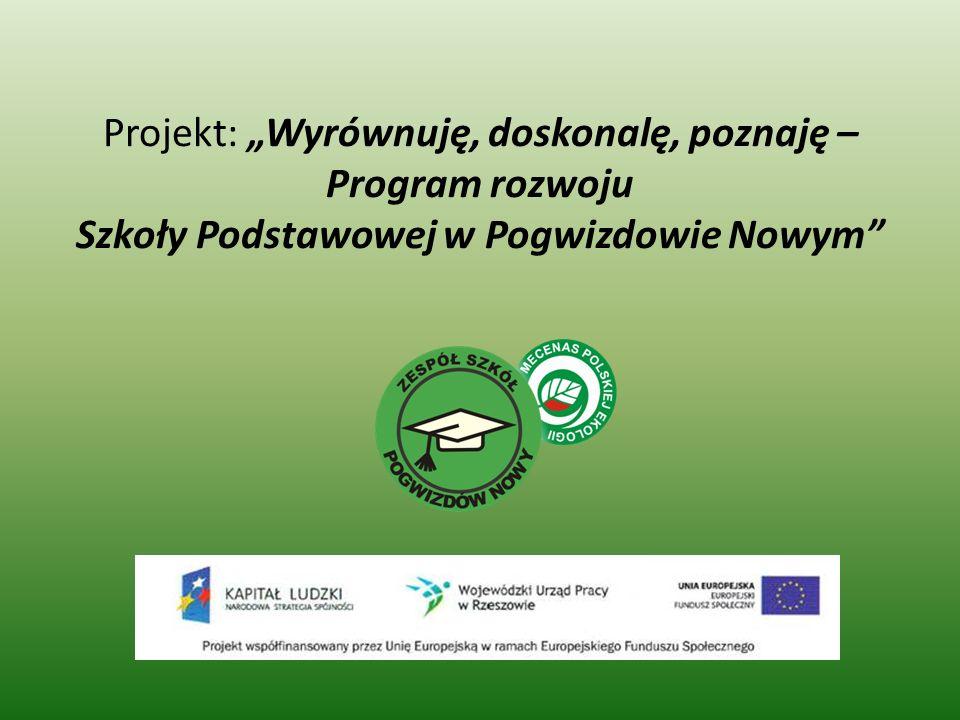 """Projekt: """"Wyrównuję, doskonalę, poznaję – Program rozwoju Szkoły Podstawowej w Pogwizdowie Nowym"""
