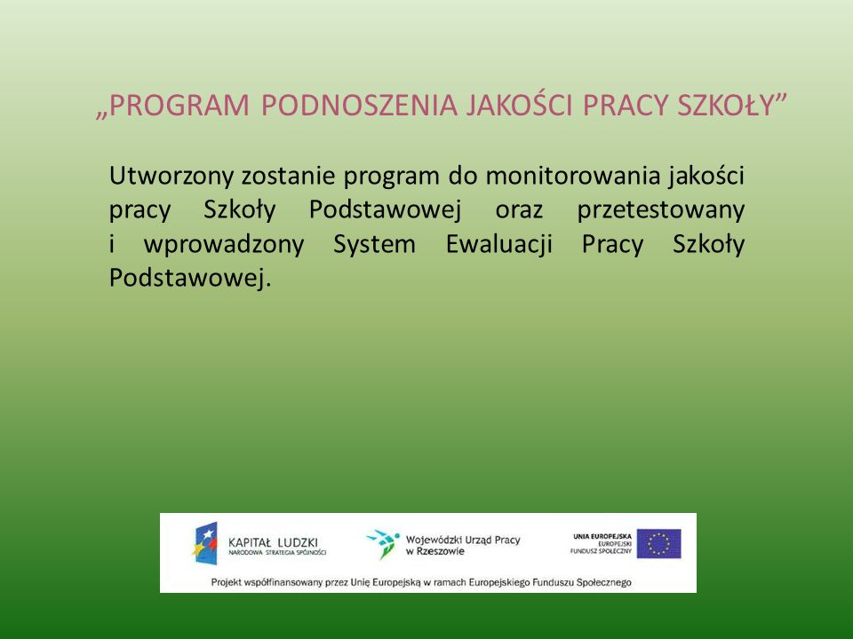 """""""PROGRAM PODNOSZENIA JAKOŚCI PRACY SZKOŁY"""