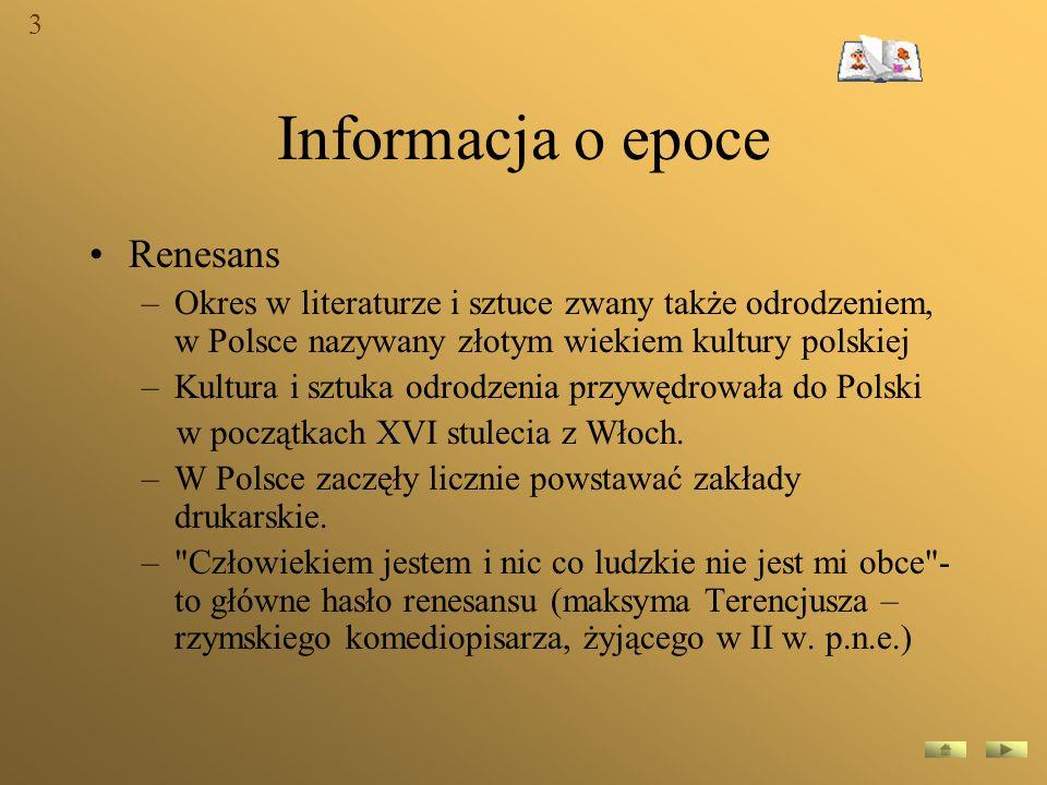 Informacja o epoce Renesans