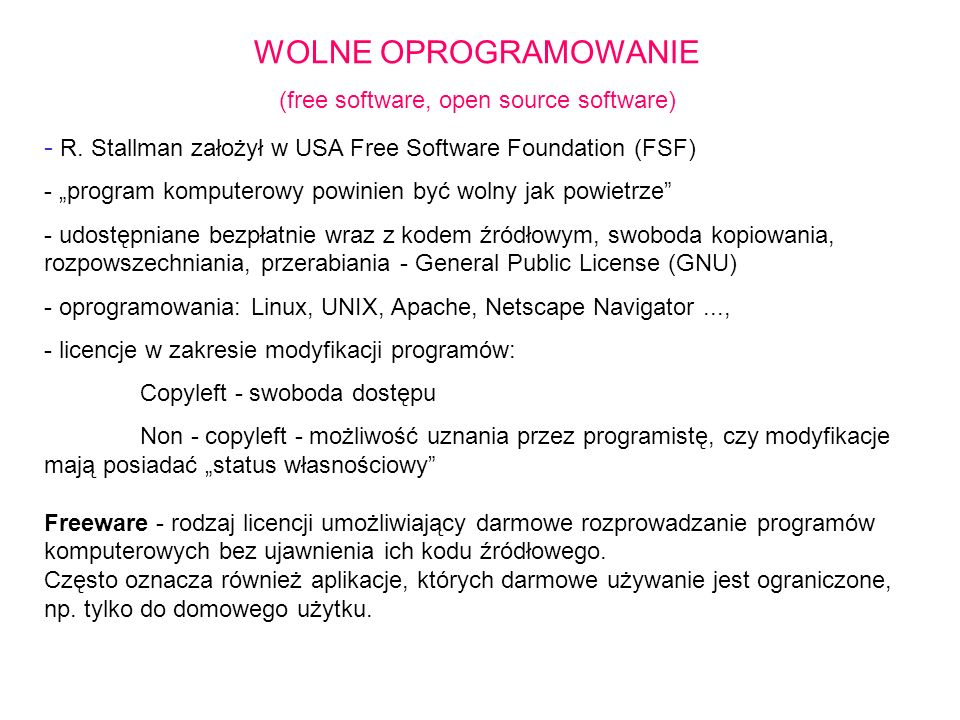 (free software, open source software)