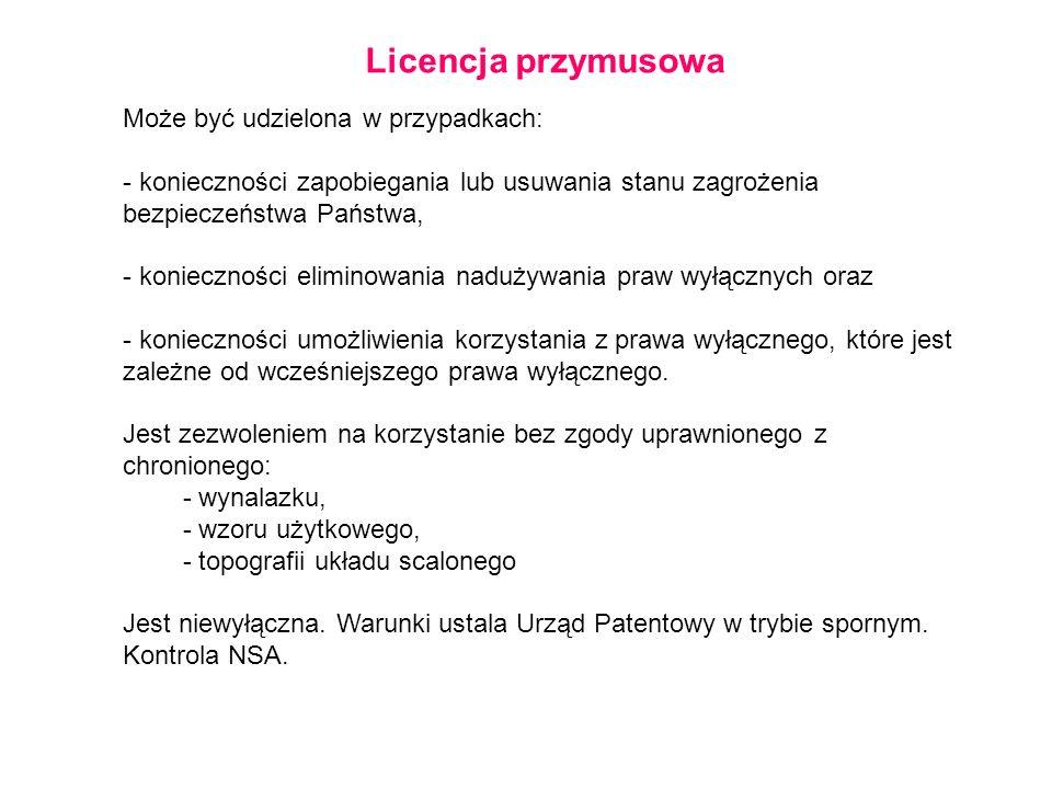 Licencja przymusowa Może być udzielona w przypadkach: