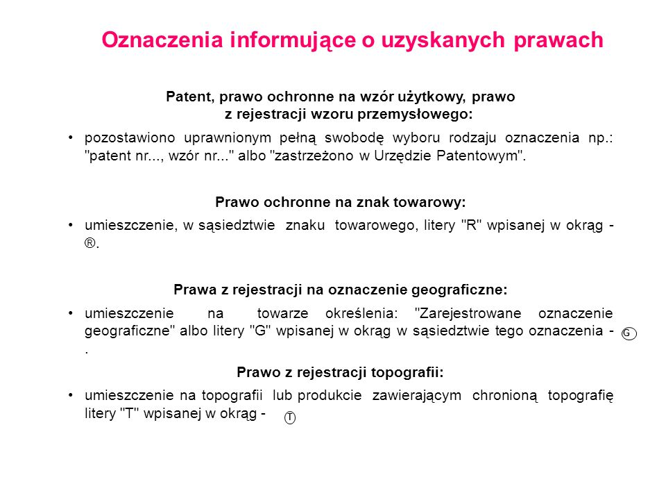 Oznaczenia informujące o uzyskanych prawach