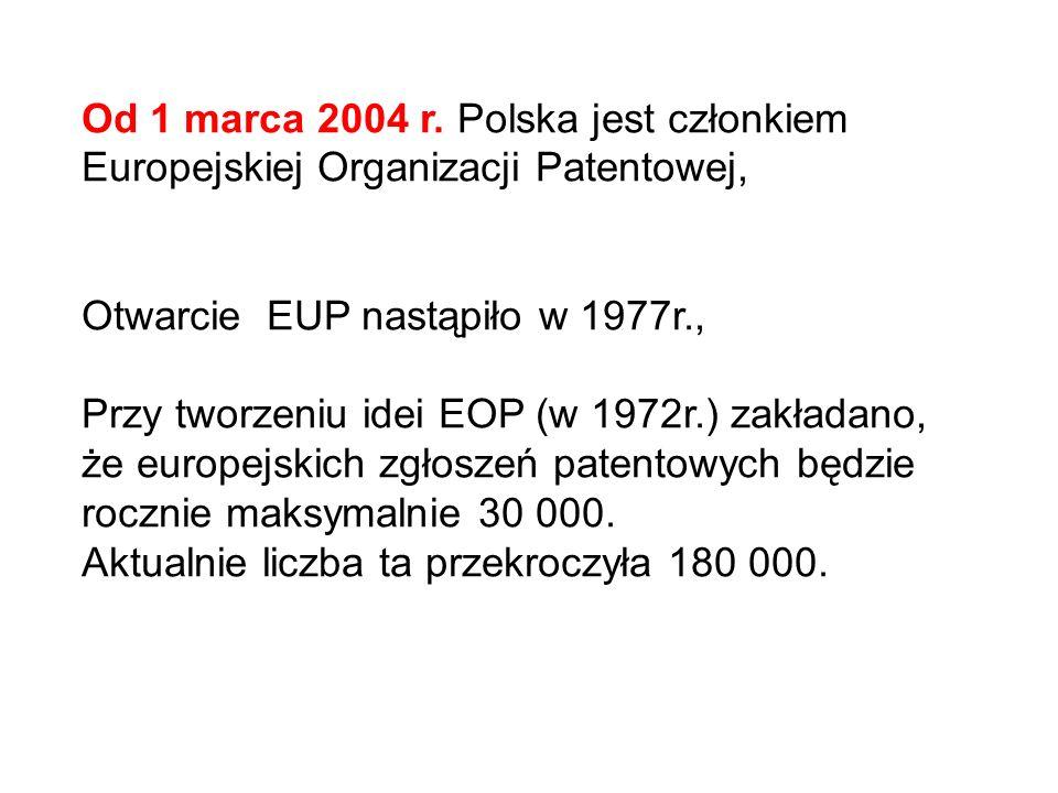 Od 1 marca 2004 r. Polska jest członkiem Europejskiej Organizacji Patentowej,