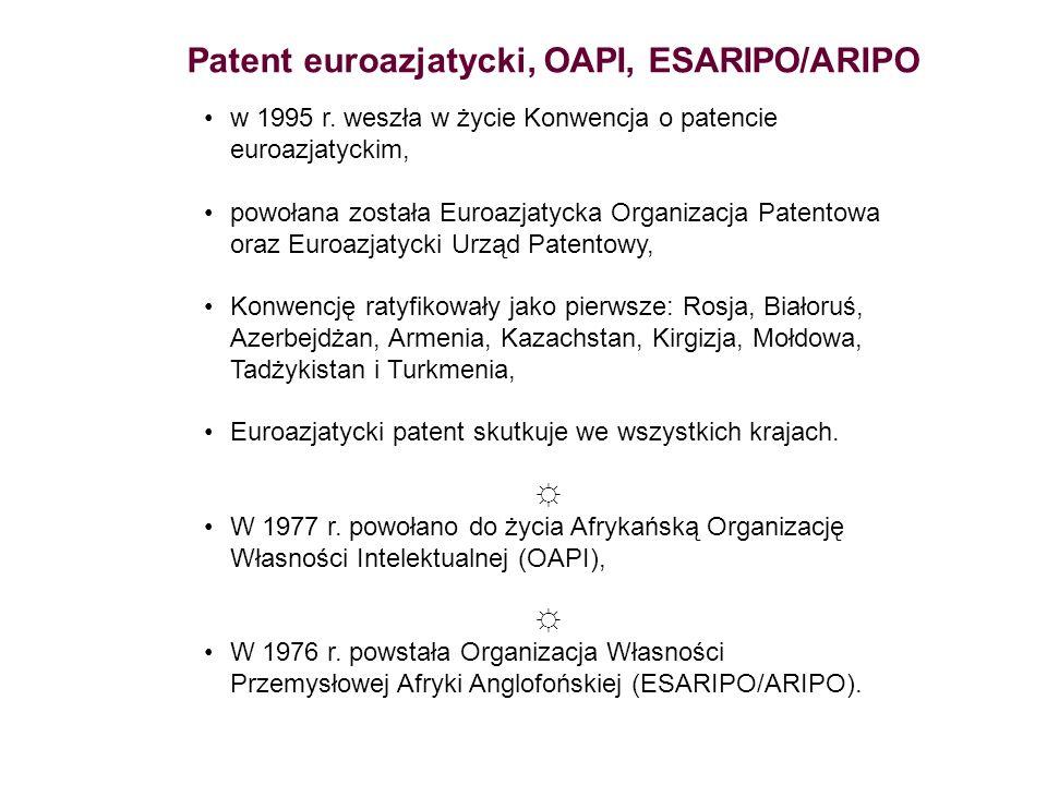 Patent euroazjatycki, OAPI, ESARIPO/ARIPO