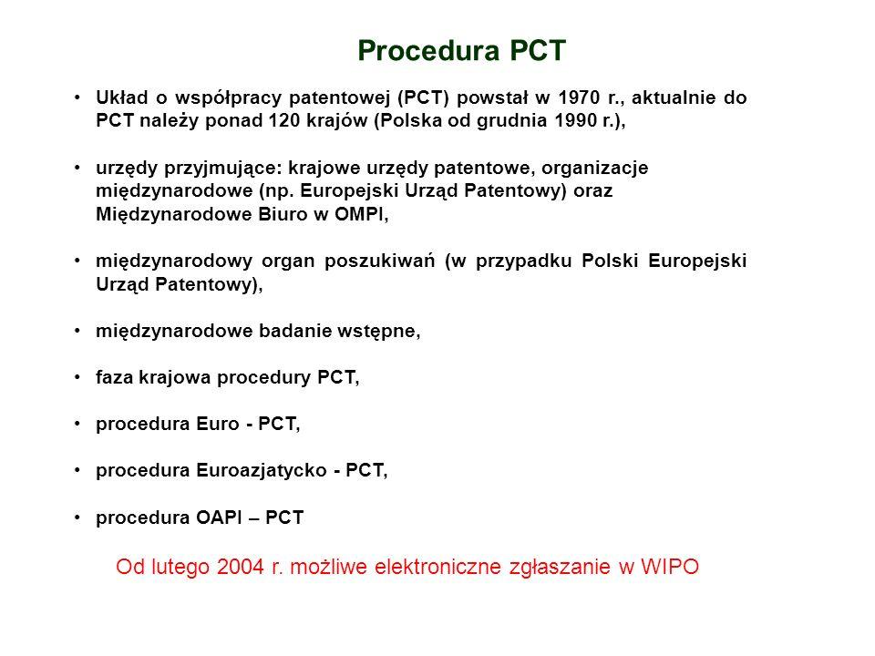 Procedura PCT Układ o współpracy patentowej (PCT) powstał w 1970 r., aktualnie do PCT należy ponad 120 krajów (Polska od grudnia 1990 r.),