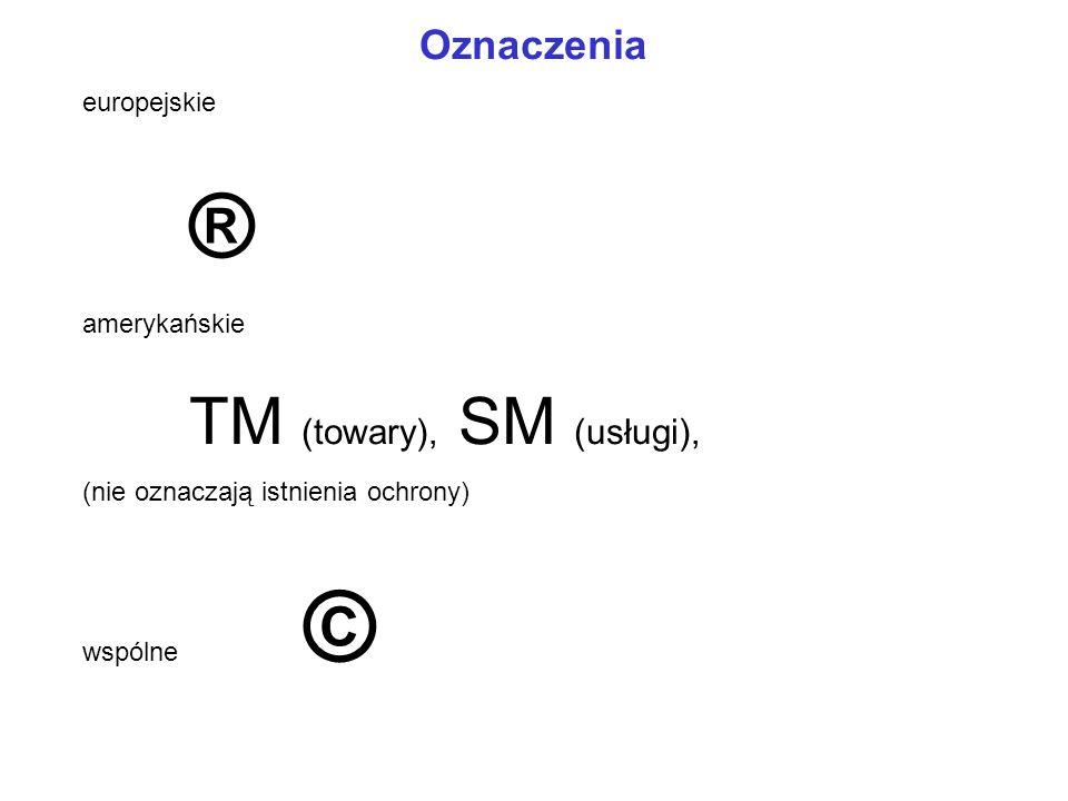 ® TM (towary), SM (usługi), Oznaczenia europejskie amerykańskie