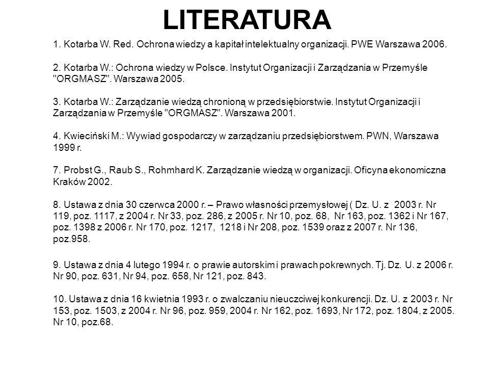 LITERATURA 1. Kotarba W. Red. Ochrona wiedzy a kapitał intelektualny organizacji. PWE Warszawa 2006.