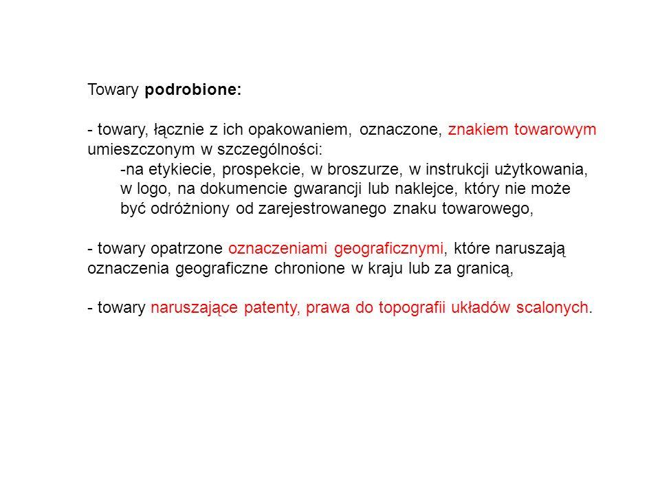 Towary podrobione: towary, łącznie z ich opakowaniem, oznaczone, znakiem towarowym umieszczonym w szczególności: