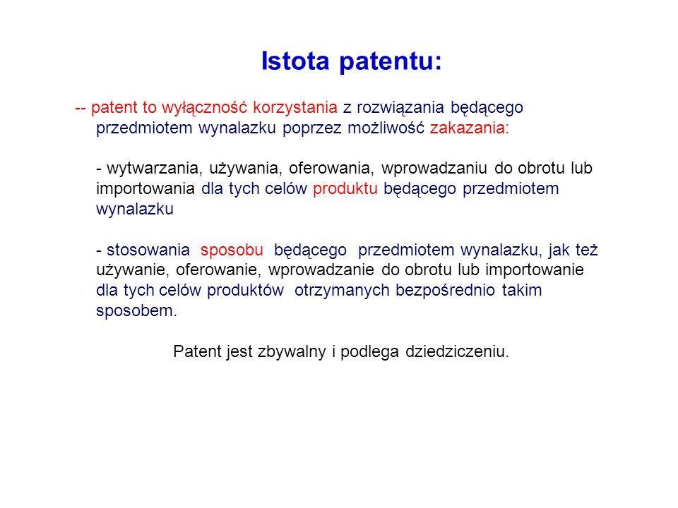 Patent jest zbywalny i podlega dziedziczeniu.