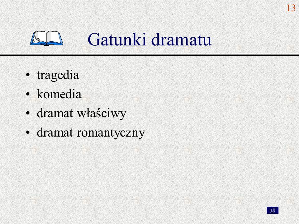 13 Gatunki dramatu tragedia komedia dramat właściwy dramat romantyczny
