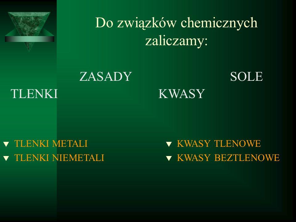 Do związków chemicznych zaliczamy: