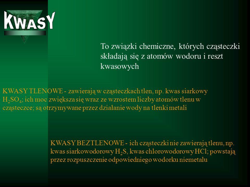 KWASYTo związki chemiczne, których cząsteczki składają się z atomów wodoru i reszt kwasowych.
