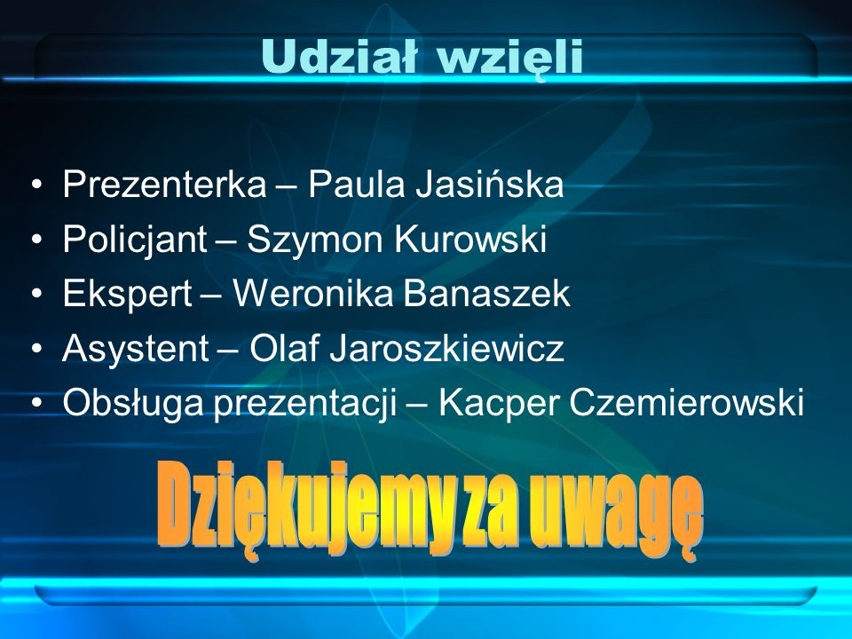 Udział wzięli Dziękujemy za uwagę Prezenterka – Paula Jasińska