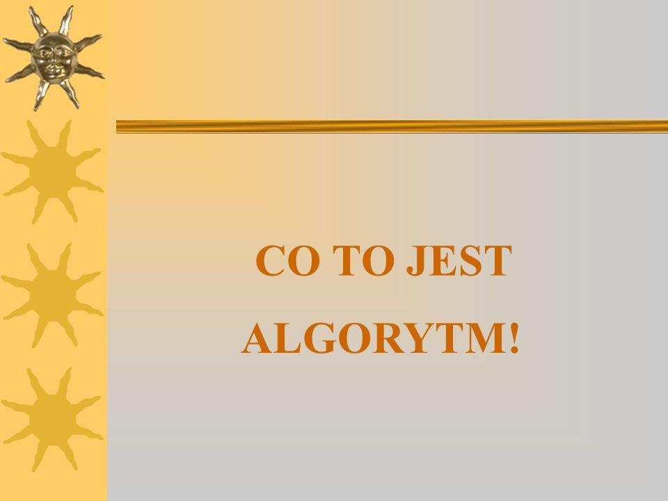 CO TO JEST ALGORYTM!