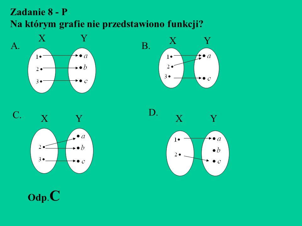 Zadanie 8 - P Na którym grafie nie przedstawiono funkcji X Y. X Y. A. B.