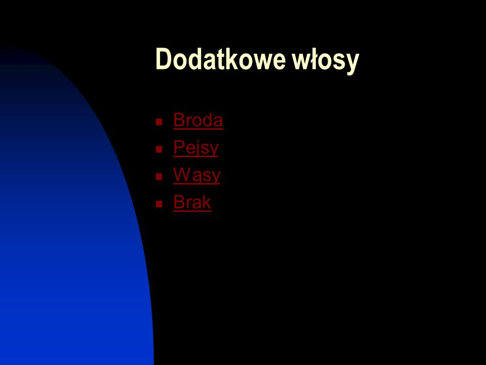 Dodatkowe włosy Broda Pejsy Wąsy Brak