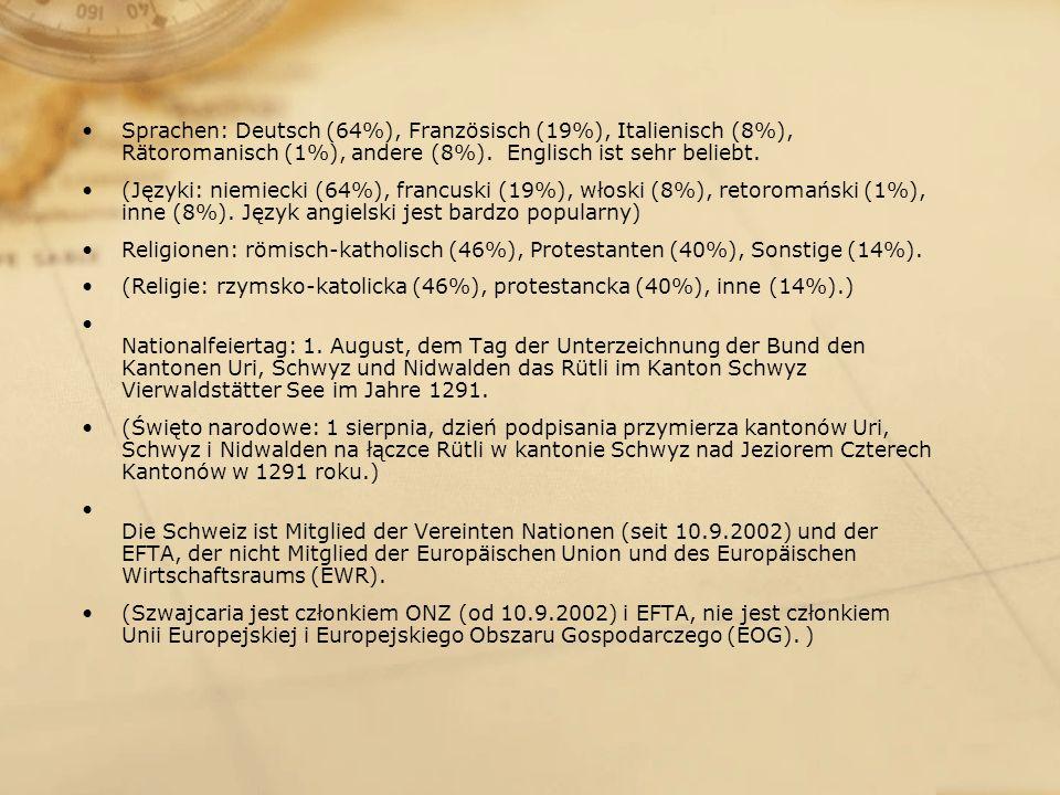 Sprachen: Deutsch (64%), Französisch (19%), Italienisch (8%), Rätoromanisch (1%), andere (8%). Englisch ist sehr beliebt.