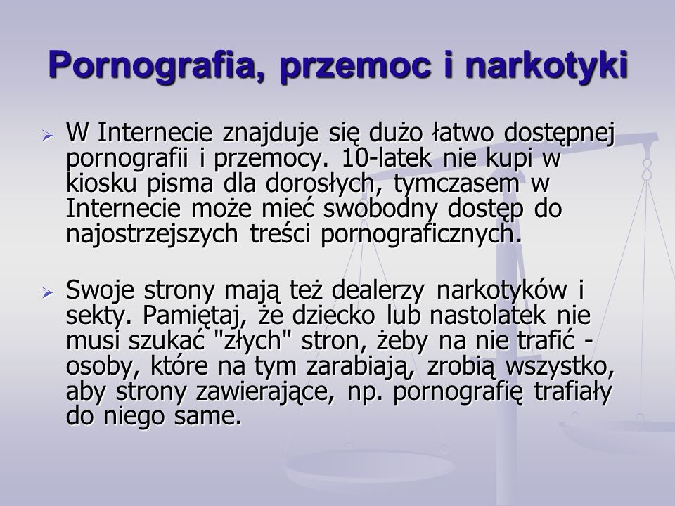 Pornografia, przemoc i narkotyki