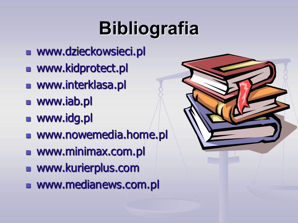 Bibliografia www.dzieckowsieci.pl www.kidprotect.pl www.interklasa.pl