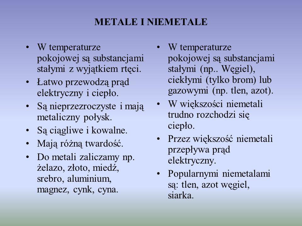 METALE I NIEMETALE W temperaturze pokojowej są substancjami stałymi z wyjątkiem rtęci. Łatwo przewodzą prąd elektryczny i ciepło.
