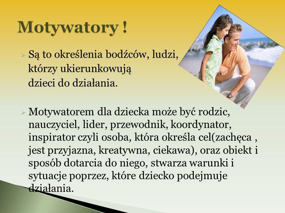 Motywatory ! Są to określenia bodźców, ludzi, którzy ukierunkowują