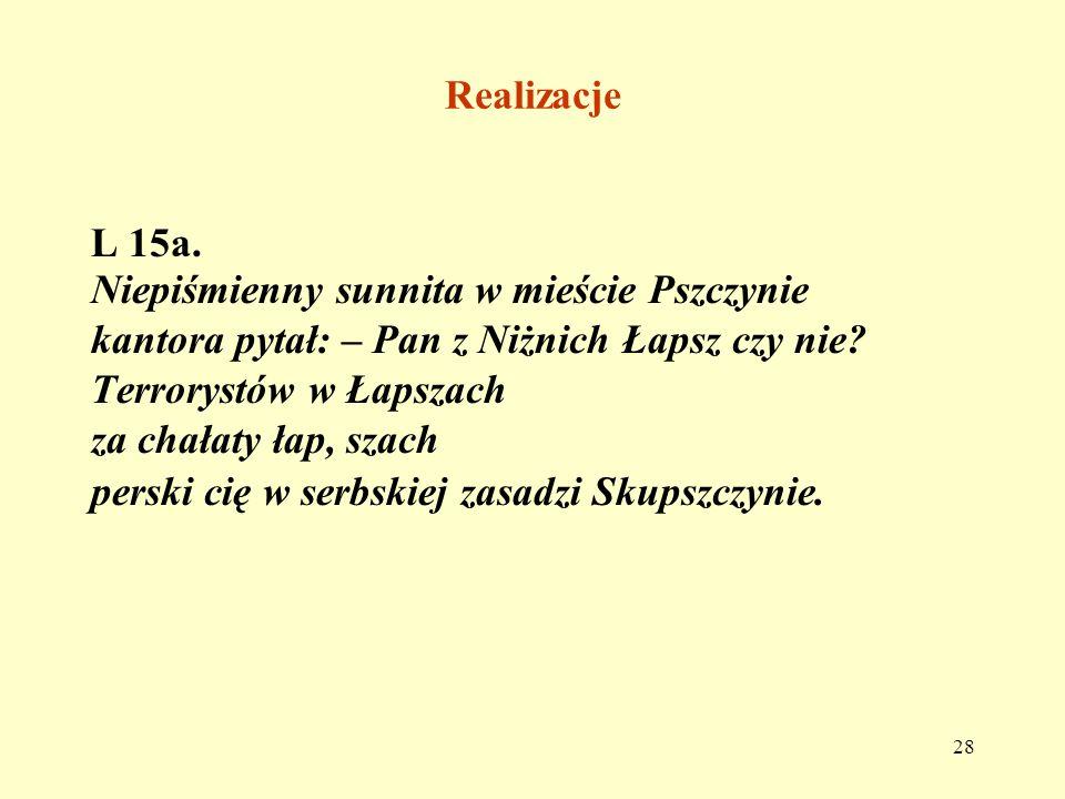 Realizacje L 15a. Niepiśmienny sunnita w mieście Pszczynie. kantora pytał: – Pan z Niżnich Łapsz czy nie