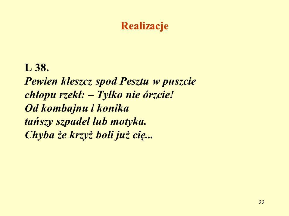 RealizacjeL 38. Pewien kleszcz spod Pesztu w puszcie. chłopu rzekł: – Tylko nie órzcie! Od kombajnu i konika.