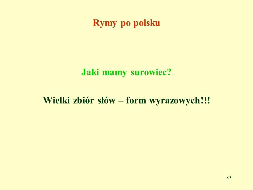 Wielki zbiór słów – form wyrazowych!!!