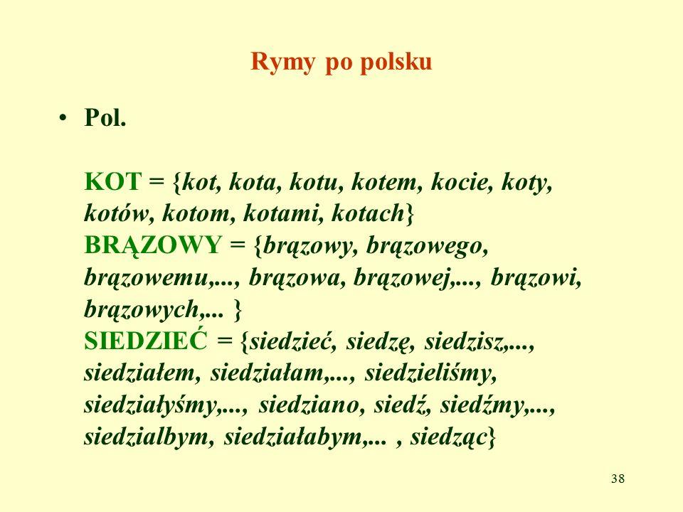 Rymy po polsku Pol. KOT = {kot, kota, kotu, kotem, kocie, koty, kotów, kotom, kotami, kotach}
