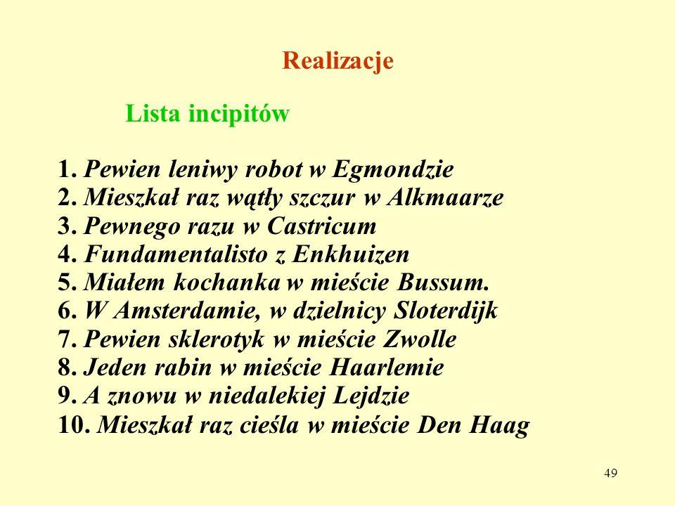 RealizacjeLista incipitów. 1. Pewien leniwy robot w Egmondzie. 2. Mieszkał raz wątły szczur w Alkmaarze.