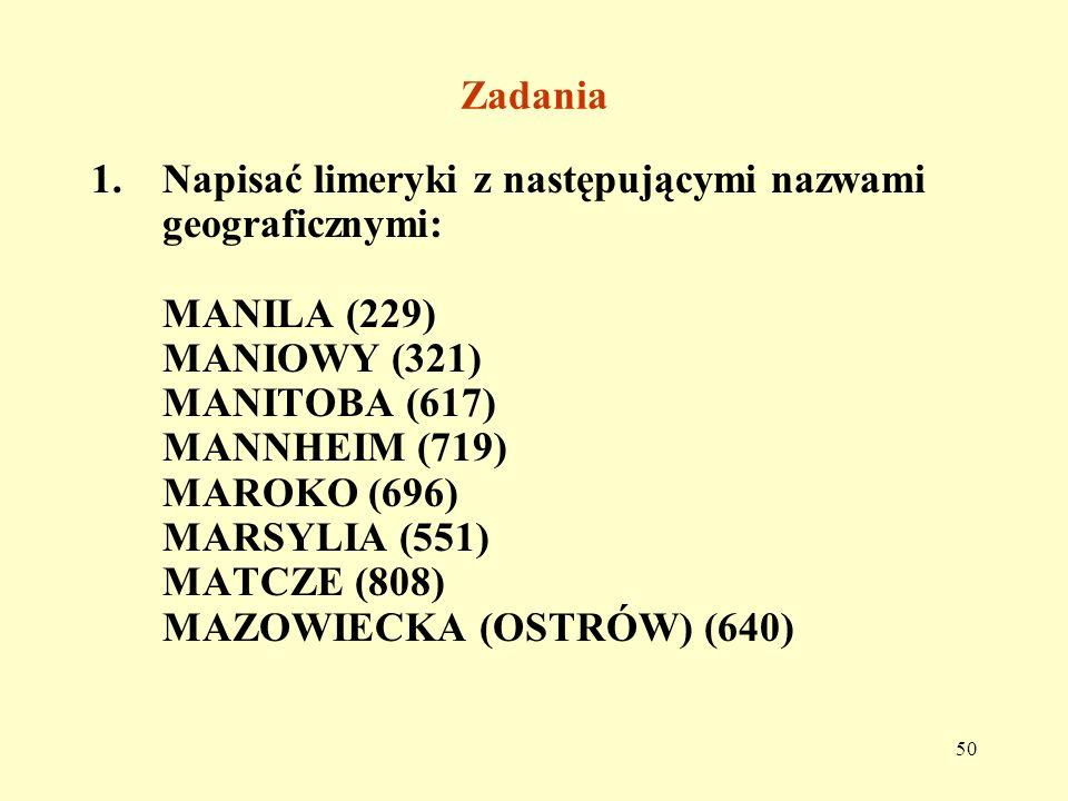 ZadaniaNapisać limeryki z następującymi nazwami geograficznymi: MANILA (229) MANIOWY (321) MANITOBA (617)